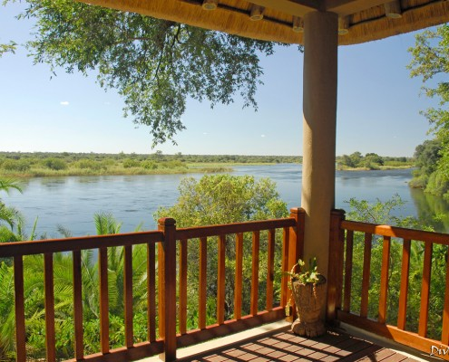 The view over the Okavango Rover from the lounge deck